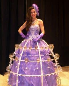 robe flutes champagne violet parme