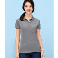 Paname grey short sleeve women´s polo