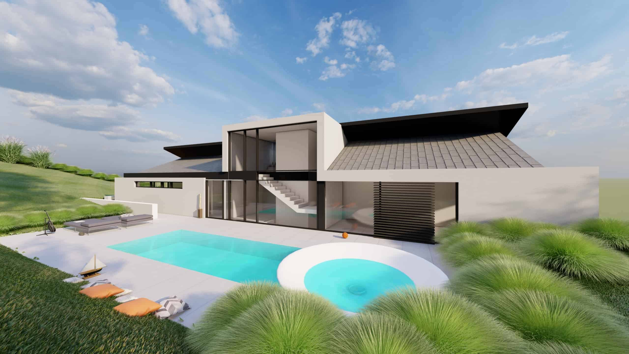 Satteldachhaus mit Pool