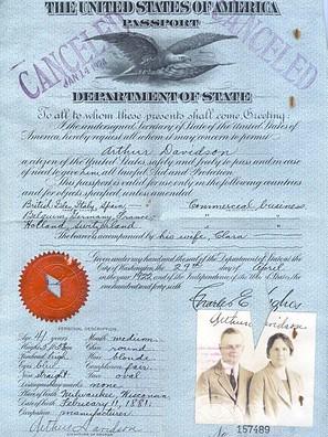Arthur Davidson's family passport.