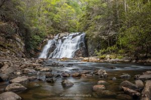 A photo of the 40 foot tall and 50 foot wide Laurel Falls off of the Appalachian Trail in Hampton, TN.