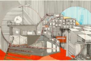 Yazan Abu Salameh, Schizophrenic City (2021), ink and acrylic on paper, 47 x 75 cm
