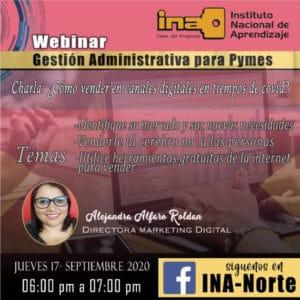 Anuncio sobre charla Gestión Administrativa para Pymes