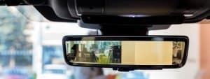 car mirror with rear view back up camera