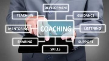Eine Wortwolke mit dem zentralen Begriff Coaching.