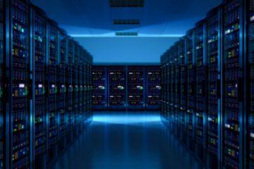 Blue Server room at data center