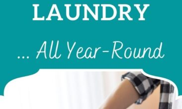 """Pinterest pin, image is of a woman adding clothes to a clothes line. Text overlay says, """"7 Reasons to Hang Dry Your Laundry Year Round: + tips & tricks that work!"""""""