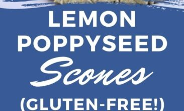 """Pinterest pin with two images. One image is of a lemon poppyseed scone on a blue rimmed plate. Second image is of a round of scones being drizzled with lemon icing. Text overlay says, """"Gluten-Free Lemon-Poppyseed Scones: best breakfast recipe!"""""""