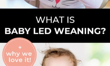 """Longer Pinterest pin with two images. First image is of a baby sitting in a high-chair eating a pear. Second image is of a baby putting a spoon into their mouth. Text overlay says, """"What is Baby Led Weaning? + why we love it!"""""""