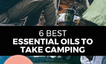 """Longer Pinterest pin with two images. Top image is a woman holding a cup of coffee sitting in the woods. Bottom image is of some kids holding sticks over a low fire. Text Overlay says: """"6 Best Essential Oils to Take Camping"""""""