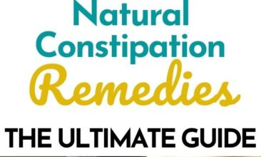 """Pinterest Pin. One images is of a woman holding her stomach, the second is of a wooden art mannequin sitting on a toilet seat. Text Overlay reads """"Natural Constipation Remedies: The Ultimate Guide"""""""