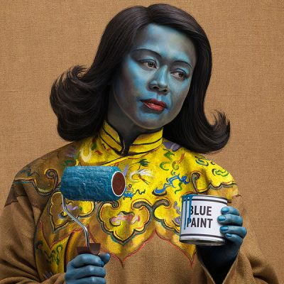 """Graphic Designer Kate Henderson recreating the famous """"Chinese Girl"""" / """"Blue Lady"""" in a shoot directed by Mark Denton"""
