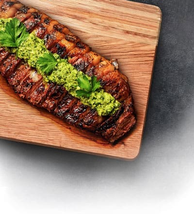 Grilled New York Strip with Browned Butter and Fresh Chimichurri Recipe
