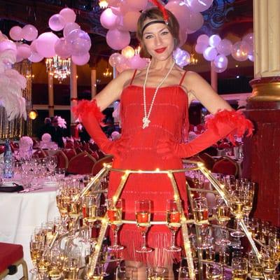 Robe Champagne animation soirée Gatsby