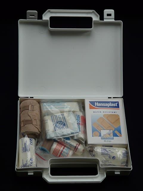 Emergency kit for winter road trip.