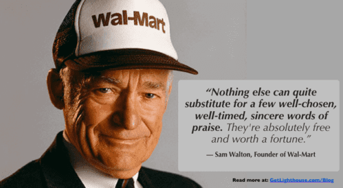 Praise is a key part of the power of repetition as sam walton knows