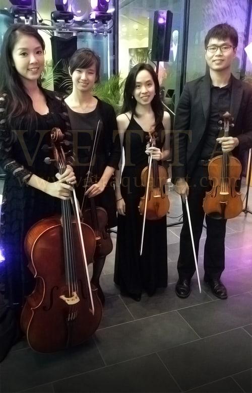 string quartet for corporate function building launch