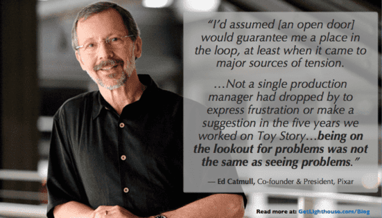 management debt means avoiding open door policies and learning from ed catmull