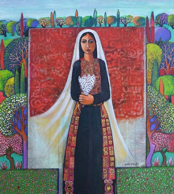 Nabil Anani, The Bride (2005), acrylic on canvas, 100 x 90 cm
