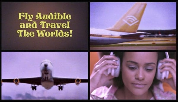 'Fly Audible and Travel the Worlds' advert with woman listening to Audible on the plane