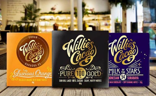 Willie's Cacao Luscious Orange, Pure 100% Gold and Milk of the Stars chocolate range, sold at Waitrose, Sainsburys and Ocado.