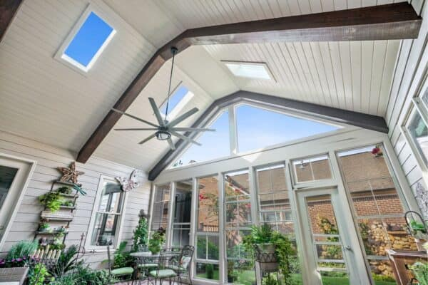Screened porch with skylights to bring in natural light.