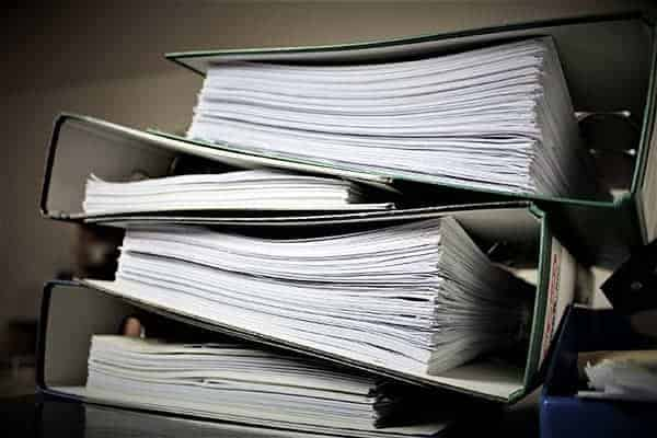lever arch files of insurance documents