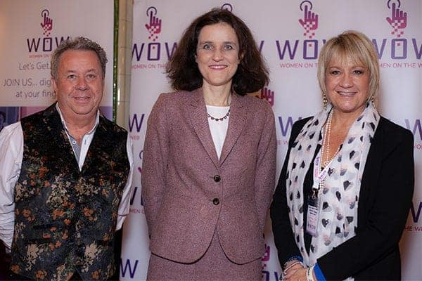 Mike Sebbage, Rt Hon Theresa Villiers MP and Carol Mann at the Women on the Web launch