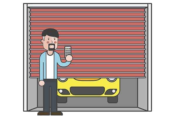 Tradesman locking van in home garage.