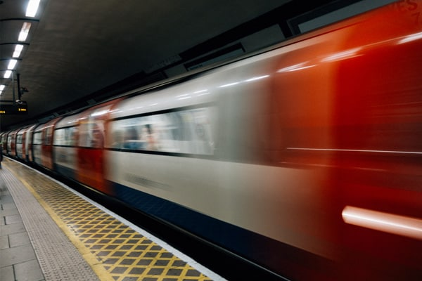 A fast moving tube in London.