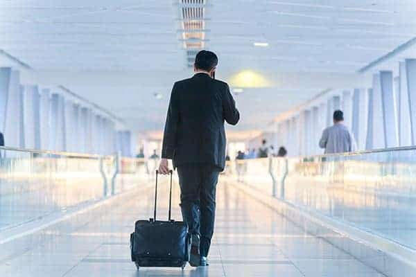 Talking about work on a mobile phone in airport can cause a data breach
