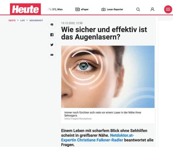 Heute Augenlaser Falkner-Radler Augenchirurgin