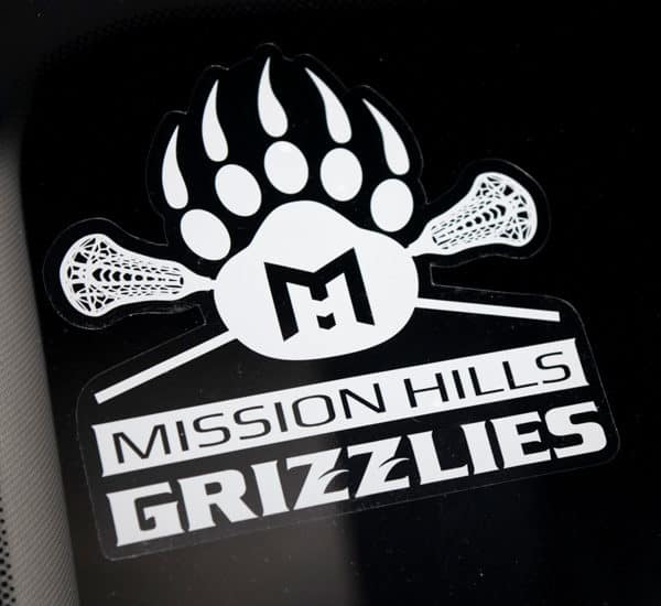 Sticker - Front Adhesive - Paw with Lacrosse Sticks
