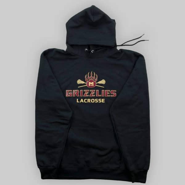 Hoodie – Black – Grizzlies Lacrosse Screen Print (Full View)