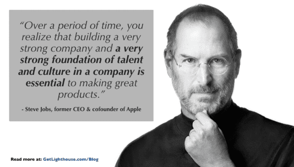 steve jobs knows the importance of culture and to promote from within