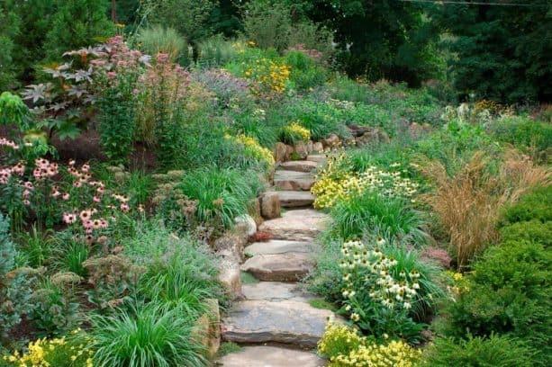 peaceful walking garden with landscape steps on a slope
