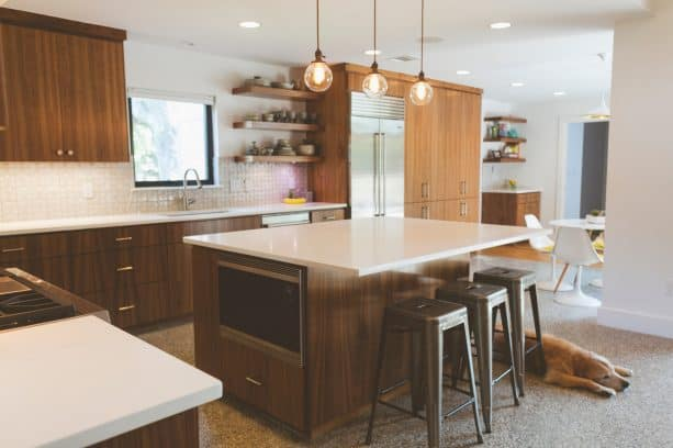 after remodel raised ranch kitchen with walnut cabinets