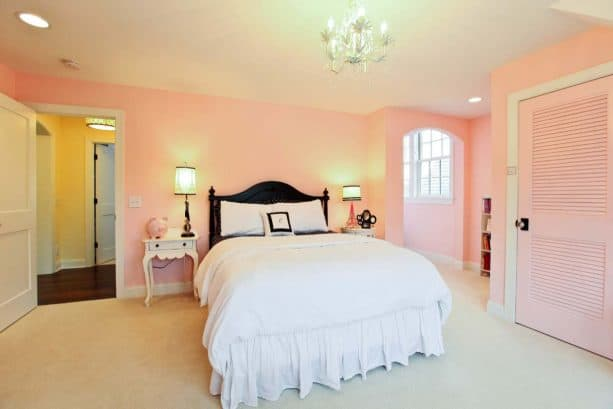 ballet slippers walls and a white bed for an elegant bedroom