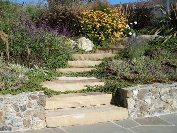 stone steps and perennial garden landscape on a hillside slope