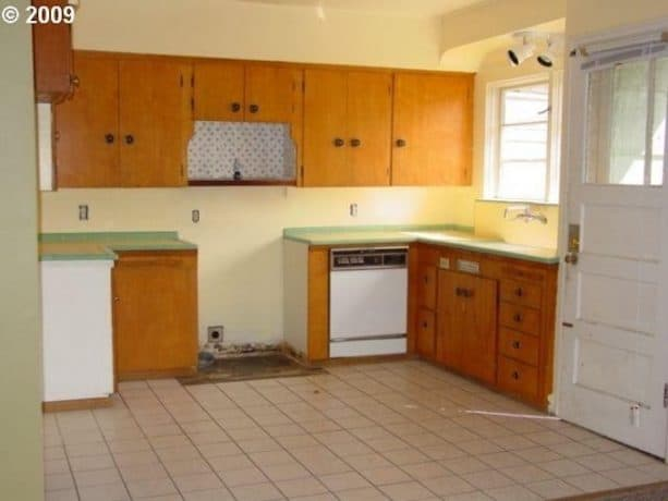 before the remodel, the raised ranch kitchen was actually in a very bad shape