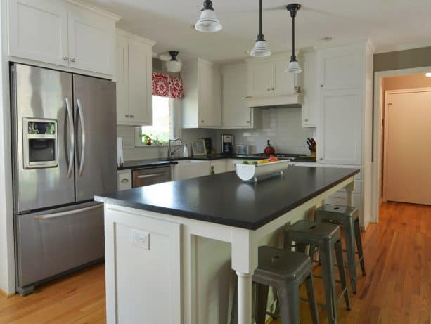 a ranch kitchen remodel project with breakfast bar and a large island