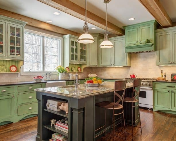 timeless kitchen remodel with custom-painted sage green cabinets