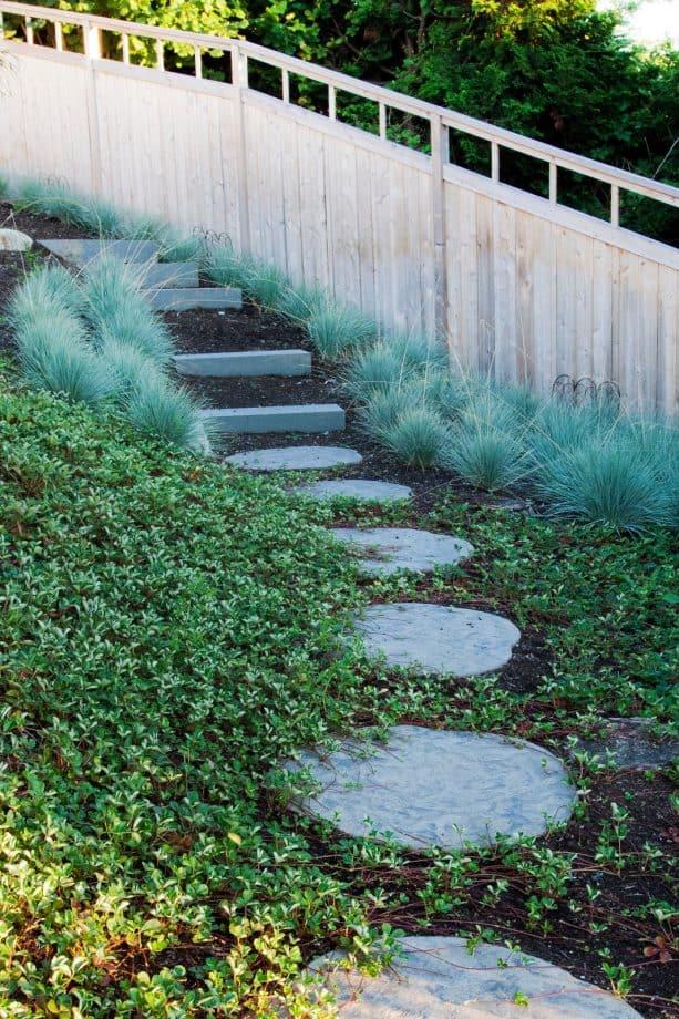 inspiration for a stylish slope landscape with bluestone steps