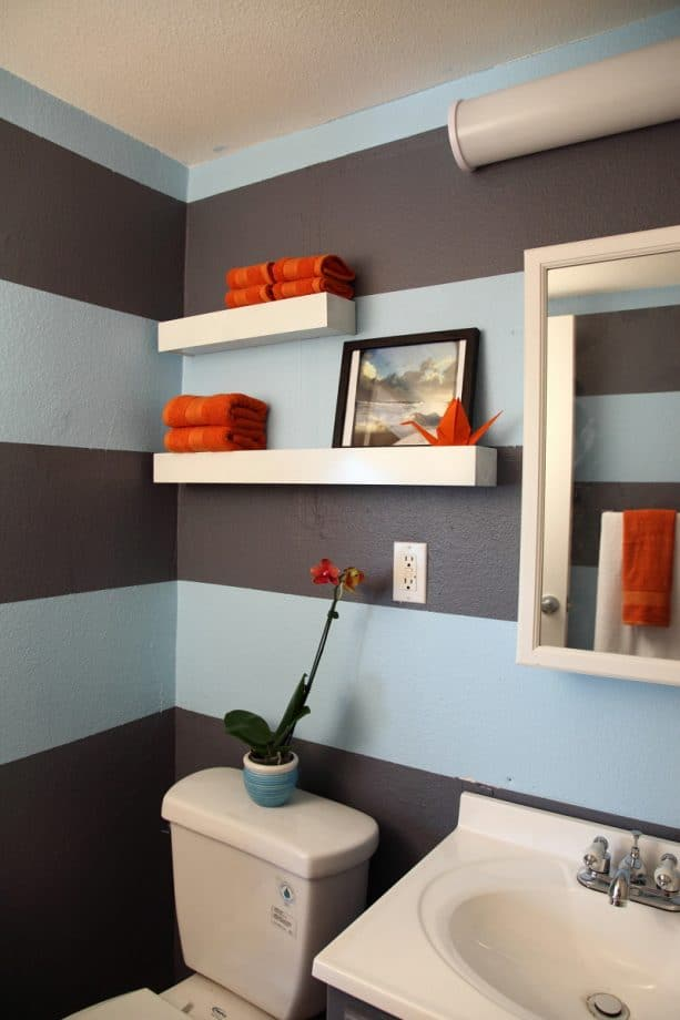 stripes of sky and shadow can help any designers create a unique-looking bathroom