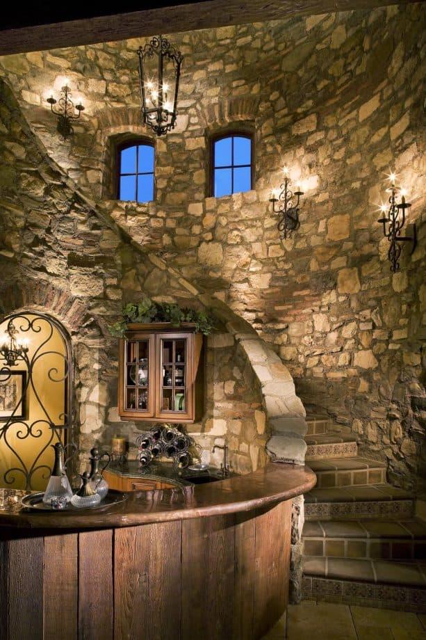 elegant stone veneer covering for mediterranean concrete steps