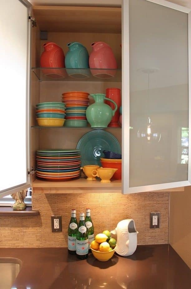 raised ranch kitchen with vintage ceramics collection