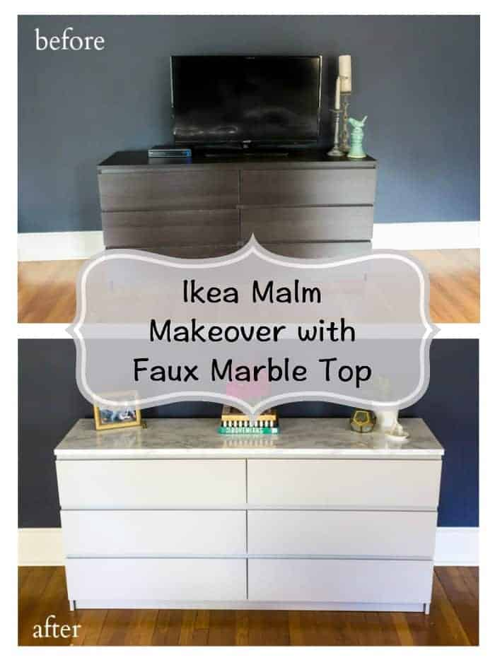 Ikea malm makeover with faux marble top