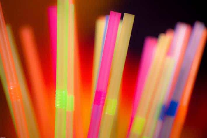 Colourful bendy plastic straws