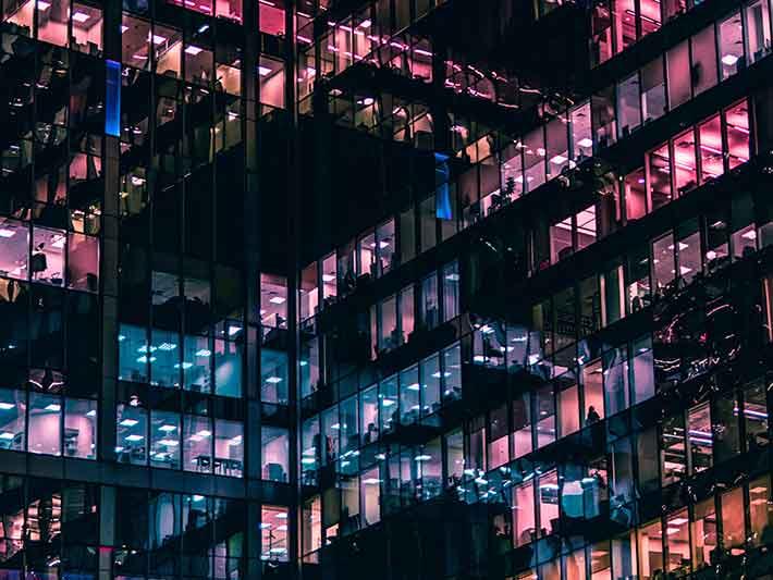 Office lights at night