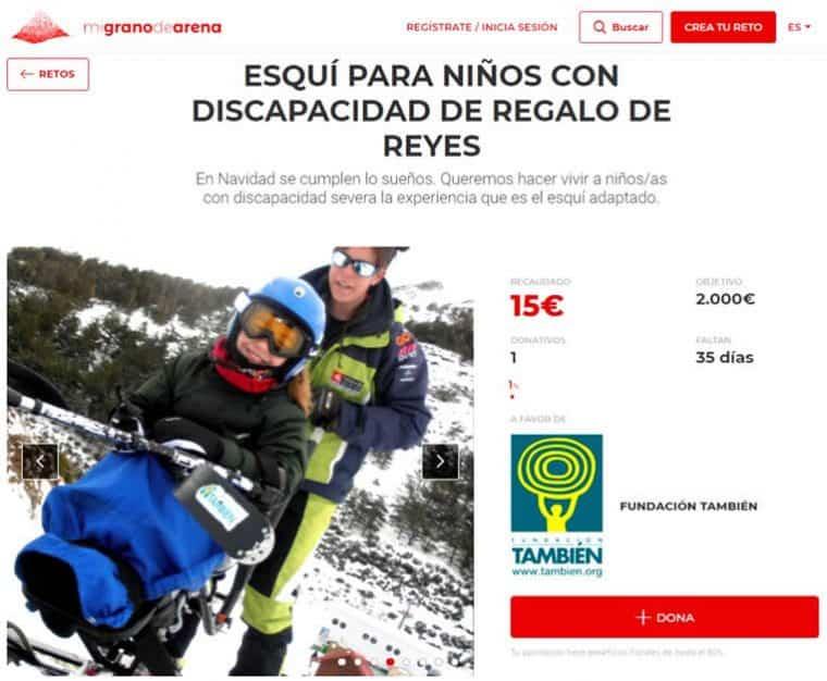 Campaña de crowfunding para regalar en Reyes a niños y niñas con discapacidad una experiencia de esquí adaptado